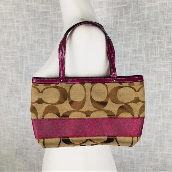 Coach Handbags - Coach signature stripe mini tote in khaki/berry